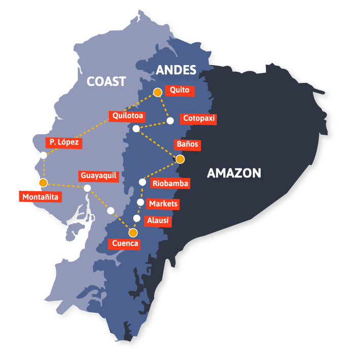 Our routes in Ecuador